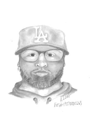 Las Vegas police released this sketch of a man suspected of robbing several fireworks stands in the days before the Fourth of July.