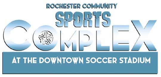 The tentative new logo for the city soccer stadium property on East Broad Street.