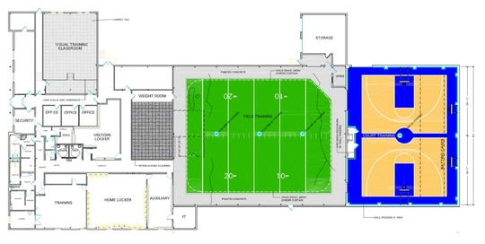 A draft concept for renovating the McGuire Building adjacent the city soccer stadium.