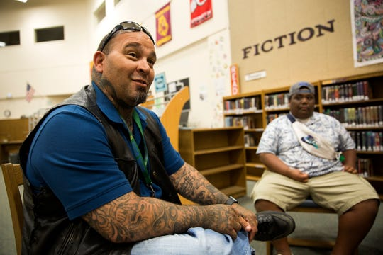 Community resource specialist Ken Ramirez is interviewed at McKay High School in Salem on July 1, 2019. Ramirez primarily works with the schools' Pacific Islander students.