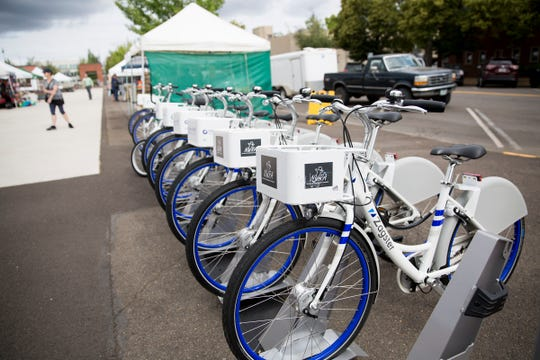 Ride Salem's bike share station is set up at the corner of Chemeketa and Church Streets NE in downtown Salem on July 3, 2019.