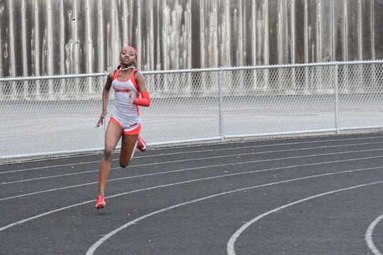 Though she's often months younger than her competitors, Adams is one of the fastest sprinters in the state.