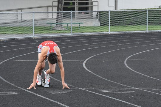 Though he qualified for the AAU Junior Olympics in three events, this is just Whitney's first year running on a track with blocks and spiked shoes.