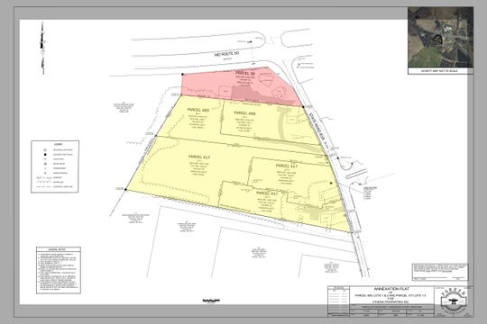 Sprio Buas' property at the corner of Main Street and Route 50 is made up of six different parcels. Five (shaded in yellow) are currently in Worcester County. The other one (shaded in red) resides in the town of Berlin.