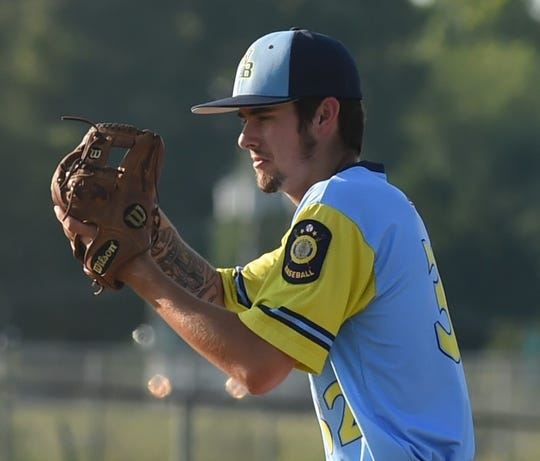 Wicomico Blue Sox pitcher Travis Adams stares down a Somerset batter on Tuesday, July 2, 2019.