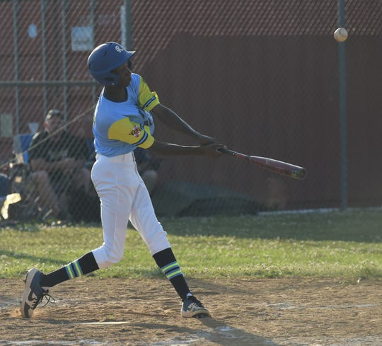 Wicomico Blue Sox outfielder Kevon Whitehead pops one up against Somerset on Tuesday, July 2, 2019.
