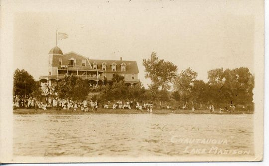 Undated photo of the Chautauqua grounds at Lake Madison. On July 4, 1919, a boat left the grounds and later sunk. Nine people drowned.