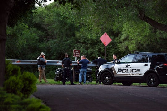 Leaders Park is blocked off by a police perimeter after reports of shots fired Tuesday evening, July 2, in Sioux Falls.