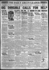 Front page of the July 5, 1919 Argus Leader includes the initial account of the Lake Madison disaster.