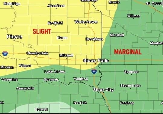Eastern South Dakota could see severe thunderstorms the evening of Wednesday, July 3, 2019.