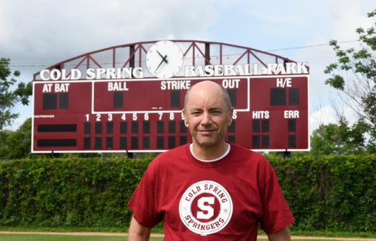 Dave Hinkemeyer poses for a photo at the Cold Spring Baseball Park on Wednesday, July 3, 2019. Hinkemeyer was recently selected to be inducted into the Minnesota Amateur Baseball Hall of Fame.