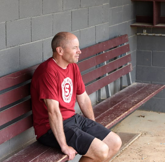 Dave Hinkemeyer stares out at the field at Cold Spring Baseball Park on Wednesday, July 3, 2019. Hinkemeyer was recently selected to be inducted into the Minnesota Amateur Baseball Hall of Fame.
