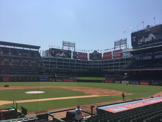 A view of the Texas Rangers' Globe Life Park in Arlington, Texas.