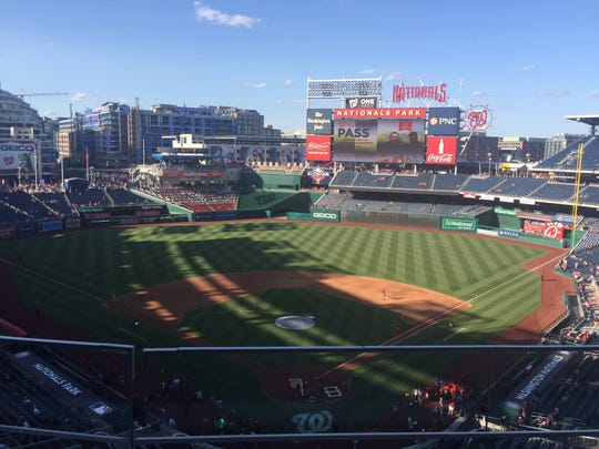 The view from the top level of Nationals Park in Washington, D.C.