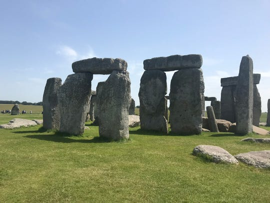 A close up view of Stonehenge.