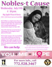 The Van Duzer Foundation will be holding a fundraiser -- Nobles-t Cause -- from 4 to 10 p.m. July 17 at Big Apple Pizza & Pasta, 2311 S. 35th St. in Fort Pierce to benefit Kim Nobles, who had breast cancer surgery in June.