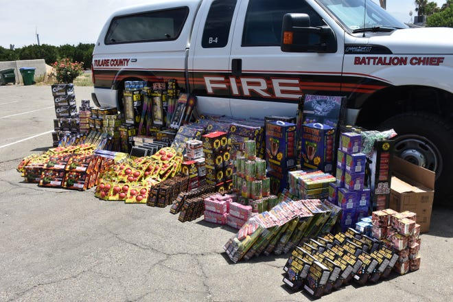 Tulare County Fire Department investigators and the Tulare County Sheriff Department seized 752 pounds offireworks on July 2 after getting a tip about theillegal explosives.