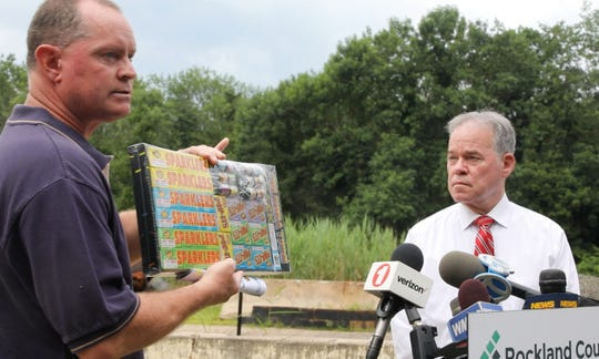 Rockland County Fire and Emergency Services Director Chris Kear talks about firework safety before the 4th of July holiday with Ed Day, Rockland County Executive in Pomona on July 3, 2019.