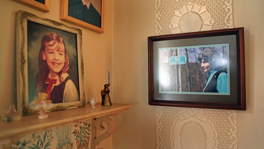 Rosemarie D'Alessandro photo along with a picture of her daughter Joan hang on the wall at her home in Hillsdale, NJ July 2, 2019. This is a view of pictures of Rosemarie and her daughter, Joan. Joan was killed at age 7 some 43 years ago.