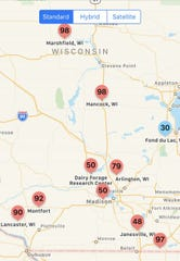 App shows the risk for tar spot locations in southern and south-central Wisconsin.