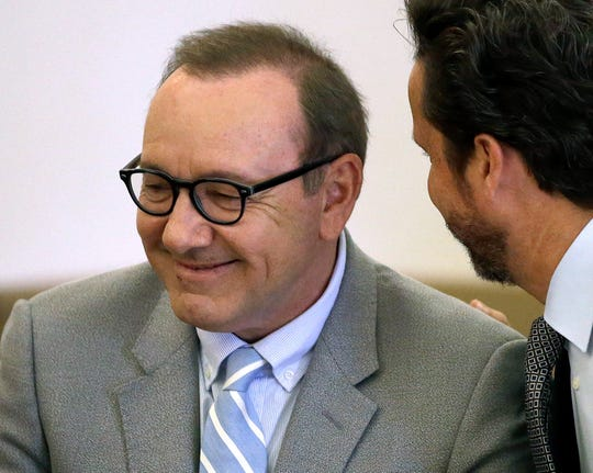 Kevin Spacey listens to legal professional Alan Jackson in the future of a pretrial hearing on  June 3, 2019, in Nantucket, Mass.
