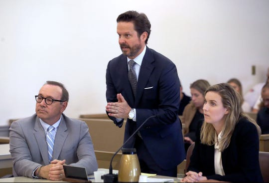 Kevin Spacey at the defense table with  attorney Alan Jackson at a pretrial hearing on June 3, 2019, in Nantucket, Mass.