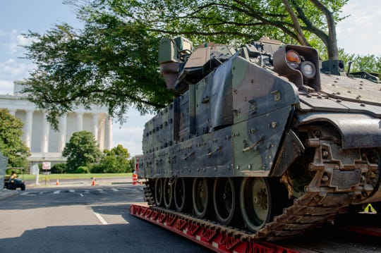 A Bradley Fighting Vehicle is parked near the Lincoln Memorial on July 3, 2019.