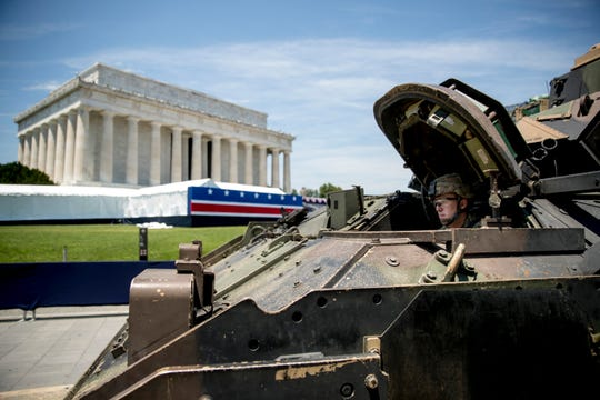 A Bradley Fighting Vehicle waits to be driven into place in front of the Lincoln Memorial for President Donald Trump's 'Salute to America' event on Independence Day, Tuesday, July 2, 2019, in Washington.