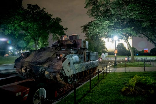 "One of two Bradley Fighting Vehicles is parked next to the Lincoln Memorial before President Donald Trump's ""Salute to America,"" event honoring service branches on Independence Day."