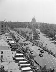 The welcoming parade for King George VI and Queen Elizabeth moves through Constitution Avenue in Washington on June 8, 1939.