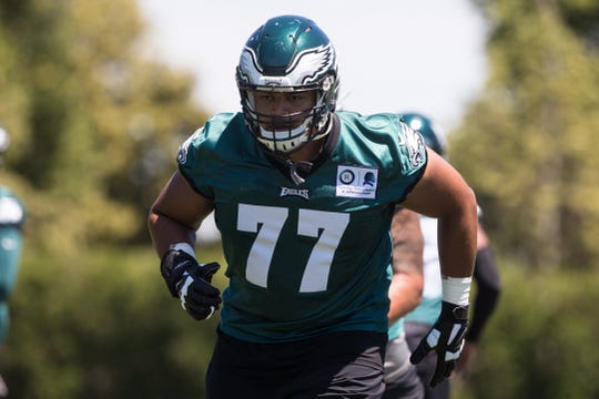 Eagles' offensive tackle Andre Dillard was one of the lower-rated first-rounders with a 70.