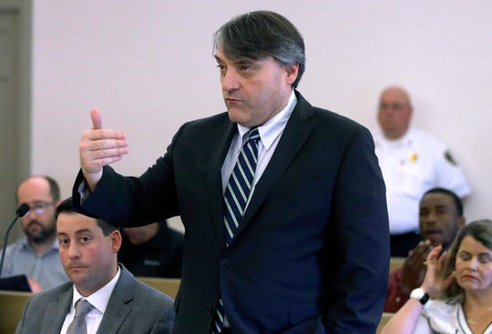 Brian Glenny, first assistant district attorney from the Cape & Islands District Attorney's office, at a pretrial hearing for Kevin Spacey on June 3, 2019, in Nantucket, Mass.