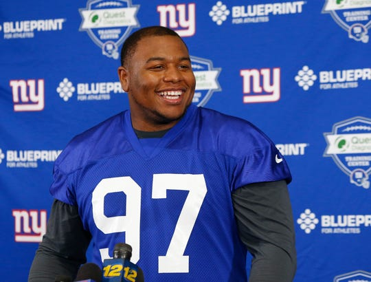 Dexter Lawrence, a big man in the middle of the defensive line for the Giants, is a 76.