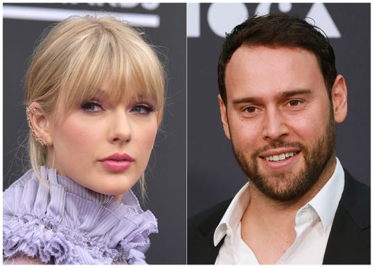 Taylor Swift at the Billboard Music Awards at the MGM Grand Garden Arena in Las Vegas on May 1, 2019, left, and Scooter Braun at the 2019 MOCA benefit in Los Angeles on May 18, 2019.