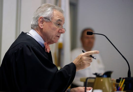 Judge Thomas Barrett presides at pretrial hearing for Kevin Spacey, June 3, 2019, in Nantucket, Mass.