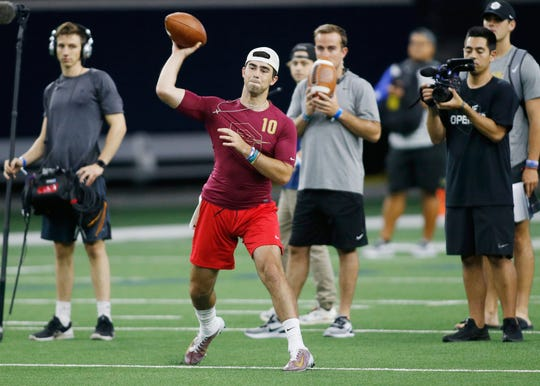 Notre Dame recruit Drew Pyne throws a pass in the 7 on 7 tournament at the Ford Center at The Star.