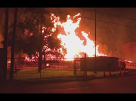 Thousands of barrels of Jim Beam bourbon burn in Kentucky