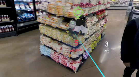 A screenshot taken from Walmart's virtual reality training shows a misplaced item on a display shelf.