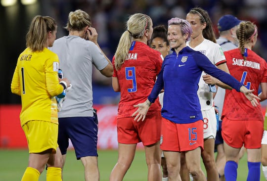 Megan Rapinoe is preparing to hug American goalkeeper Alyssa Naeher after beating England in the World Cup semi-finals.