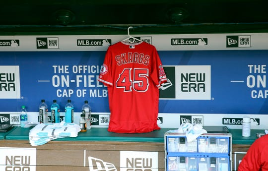 July 2: The jersey of deceased Los Angeles Angels pitcher Tyler Skaggs hangs in the dugout during the game against the Texas Rangers at Globe Life Park in Arlington. The Angels won the game, 9-4.