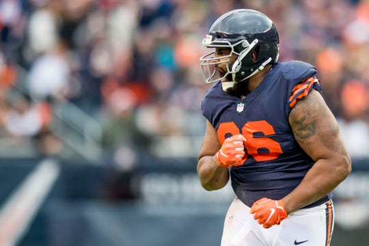 Chicago Bears defensive end Akiem Hicks (96) reacts during the first half against the New York Jets at Soldier Field.