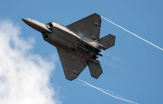The F-22 Raptor practices Thursday afternoon during the 2019 Field of Flight event.