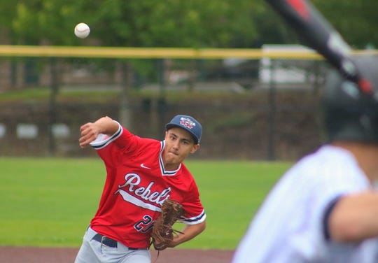 Kitsap Rebels pitcher Reece Zusy delivers home during the team's July 3 game at Sehmel Homestead Park in Gig Harbor.