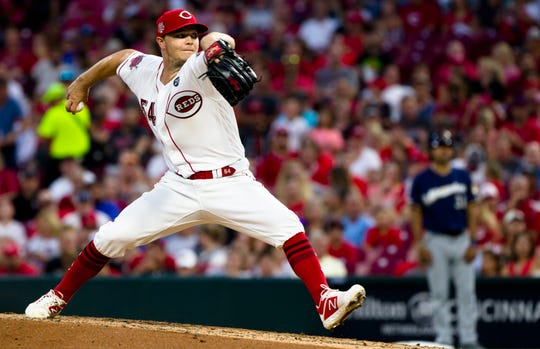 Cincinnati Reds pitcher Sonny Gray delivers in the MLB baseball game between Cincinnati Reds and Milwaukee Brewers on Wednesday, July, 3, 2019, at Great American Ball Park in Cincinnati.