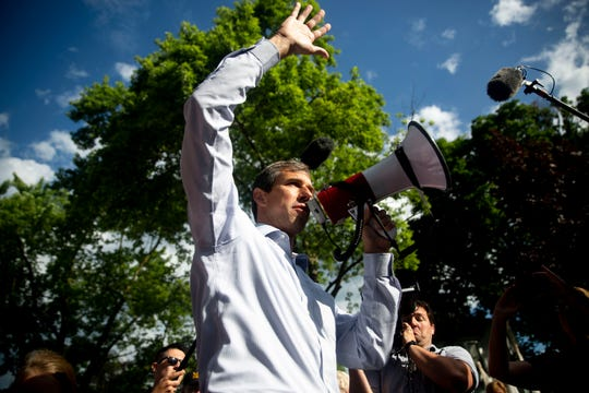 Sen. Beto O'Rourke, D-Texas, greets the crowd of people gathered to walk in the Independence Fourth of July parade with him on July 4, 2019, in Independence, Iowa.