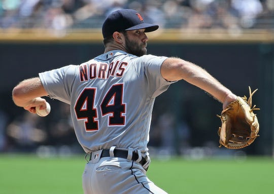 Starting pitcher Daniel Norris #44 of the Detroit Tigers delivers the ball against the Chicago White Sox at Guaranteed Rate Field on July 03, 2019 in Chicago, Illinois.