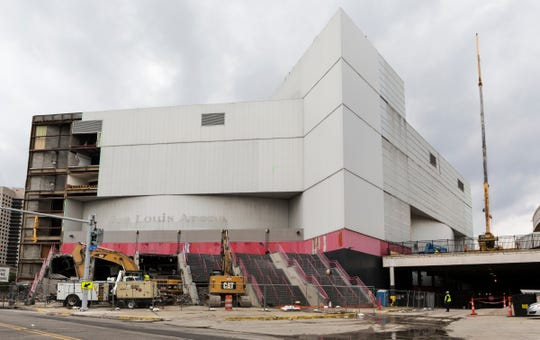 The City of Detroit still holds title to the 5-acre Joe Louis Arena site and is financially responsible for its demolition under a deal with a former creditor, New York-based Financial Guaranty Insurance Co. Some of the panels are taken down on Wednesday, July 3, 2019.