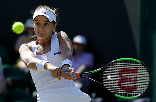 The United States' Lauren Davis returns to Germany's Angelique Kerber on Thursday.