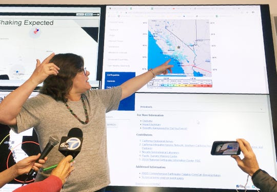 Seismologist Lucy Jones talks during a news conference at the Caltech Seismological Laboratory in Pasadena, Calif., Thursday.