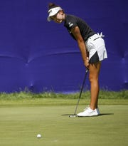 Yealimi Noh reacts to a putt during the first round of the Thornberry Creek LPGA Classic in Hobart on Thursday.